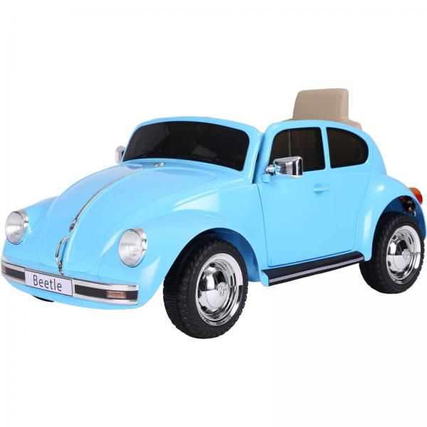 Licensed Classic VW Convertible Beetle 12V Ride On Car - Blue-0