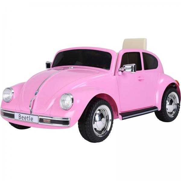 Licensed Classic VW Convertible Beetle 12V Ride On Car - Pink-0