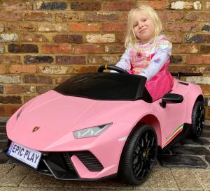 Licensed Lamborghini Huracan Performante Spyder 12V Battery Electric Ride on Car with Remote Control - Pink