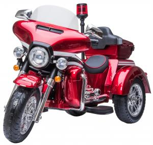 Harley Trike Style 12v Electric Battery Cruiser Deluxe Ride On Police Motorbike - Red